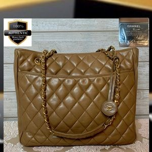 Chanel shoulder bag light brown leather chain tote